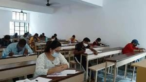 To maintain social distancing at the examination centres, there is a gap of one hour between each shift.(HT file)