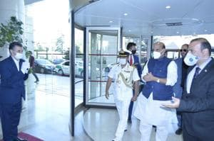 Defence minister Rajnath Singh arrived in Tehran on Saturday.(@DefenceMinIndia/Twitter Photo)
