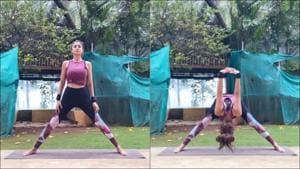 Shilpa Shetty Kundra nails Prasarita Padottanasana in latest fitness video(Instagram/theshilpashetty)