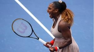 Serena Williams reacts after winning the match point in the third set during her Women's Singles fourth round match against Maria Sakkari of Greece.(Getty Images)