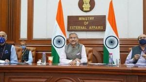 """Participating in an online interaction on Monday night to mark the release of his book The India Way, Jaishankar pointed to the serious situation on the LAC and underscored the need for """"very deep conversations between the two sides at a political level"""". (Photo @DrSJaishankar)"""