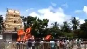 On Tuesday, hundreds of activists belonging to various Hindu groups, including Vishva Hindu Parishad, Bajrang Dal, Rashtriya Swayamsevak Sangh, Haindava Sakthi, Hindu Chaitanya Vedika and Dharmaveer Adhyatmik Vedika, etc, stormed the temple located at the confluence of River Godavari. (Videograb)