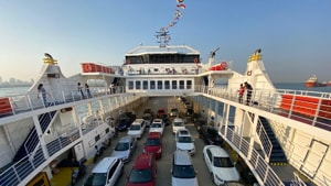 An M2M Ro-Ro ferry with its complement of cars.(M2M Ferries)