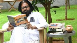 Jana Sena party chief and popular Tollywood actor Pawan Kalyan took up the deeksha at 10 am at his residence in Hyderabad. (HT Photo)