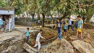 The PWD site at Lodhi Road where construction work was going on.(HT photo)