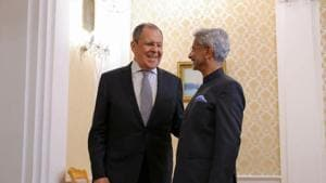 Foreign minister S Jaishankar and Russian counterpart S Lavrov meet at the sidelines of the SCO.(@RusEmbIndia/Twitter)