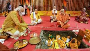 """Prime Minister Narendra Modi takes part in the Ram temple """"Bhoomi Pujan"""", in Ayodhya on August 5.(ANI FILE)"""