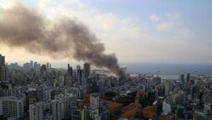 Smoke rises after a fire broke out at Beirut's port area (REUTERS/Issam Abdallah).