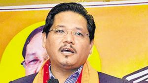 File photo: Meghalaya chief minister and National People's Party (NPP) chief Conrad K Sangma.(PTI)