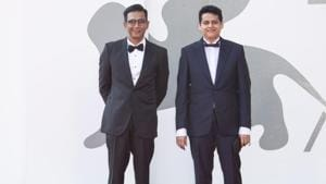 Director Chaitanya Tamhane and producer Vivek Gomber at Venice Film Festival.