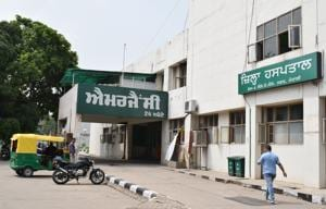 More than 50% staff have been infected in Mohali Civil Hospital in Phase-6.(HT Photo)