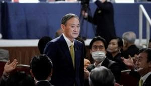 Japanese Chief Cabinet Secretary Yoshihide Suga acknowledges as he is elected as new head of the ruling party at the Liberal Democratic Party's (LDP) leadership election in Tokyo, Japan September 14, 2020. Eugene Hoshiko/Pool via REUTERS