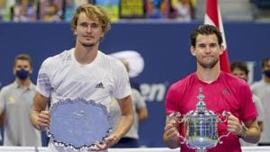 New York: Dominic Thiem, of Austria, right, and Alexander Zverev, of Germany, pose for photos after the men's singles final of the US Open tennis championships, Sunday, Sept. 13, 2020, in New York. Thiem defeated Zverev in a tiebreaker. AP/ PTI Photo(AP14-09-2020_000005A)(AP)