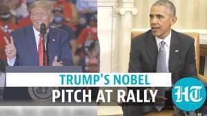 Watch: Donald Trump mocks Barack Obama over Nobel prize at rally | US polls