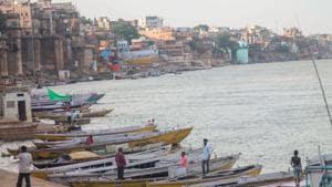 Boats anchored at a Ganga ghat in Varanasi, Uttar Pradesh.(PTI)