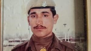 Central Reserve Police Force (CRPF) trooper Ramesh Kumar who died in the line of duty during the 2002 Jammu and Kashmir elections. (HT Photo)