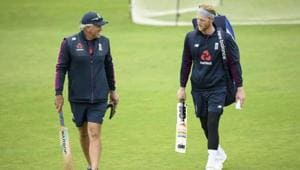 Ben Stokes, right, speaks with coach Chris Silverwood during a nets session at the Ageas Bowl in Southampton.(AP)
