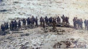In this September 8 file photo, Chinese soldiers armed with stick-machetes during their deployment along the Line of Actual Control in Eastern Ladakh sector.(ANI photo)