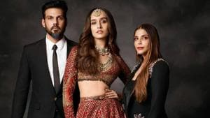 Falguni and Shane Peacock with their showstopper Shraddha Kapoor at India Couture Week 2020.(Instagram)