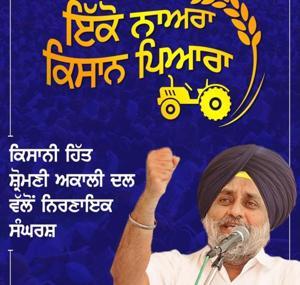 SAD chief Sukhbir Singh Badal has coined the slogan, 'Ikko Naara Kisan Pyara' assuring farmers that his party stands by them.(HT phot)