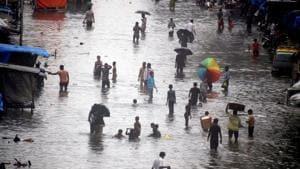A view of water loggingat Nalbazar, Mumbai, due to heavy rainfall on Wednesday.(ANI)