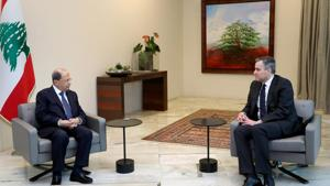 Lebanon's President Michel Aoun meets with Lebanon's Prime Minister-designate Mustapha Adib at the presidential palace in Baabda, Lebanon September 26, 2020.(via REUTERS)