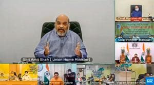 Home minister Amit Shah inaugurates 'Destination North East 2020' festival via video conferencing in New Delhi.(PTI PHOTO.)