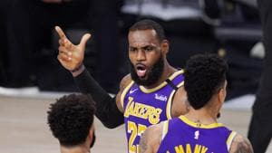 Los Angeles Lakers' LeBron James (23) voices his opinion after a play in the second half of an NBA conference final playoff basketball game against the Denver Nuggets.(AP)