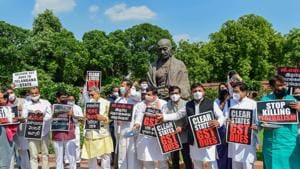 Members of various political parties stage a protest, demanding the clearance of states' GST dues, Parliament House, September 17, 2020(PTI)