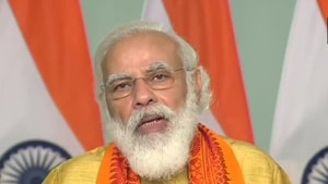Prime Minister Narendra Modi speaking after inaugurating projects in Uttarakhand on Tuesday.