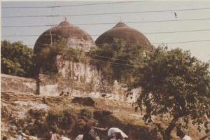 A view of the Babri Masjid, which was demolished on December 6, 1992.(HT FILE PHOTO)