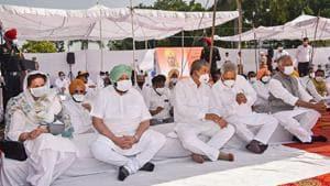 Punjab CM Amarinder Singh at a protest over farm laws, at Khatkar Kalan, Bhagat Singh's village, in Punjab on Monday.(PTI Photo)