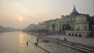 A sunrise view from Ram Ki Pedi, at Ayodhya.(Deepak Gupta/HT Photo)