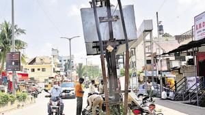A transformer at Shri Nagar colony ,Rahatani Phata was covered with an iron box as a precautionary measure.(HT PHOTO)