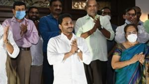 """CM Jagan took part in the """"clapping"""" programme at his Tadepalli residence in Amaravati."""
