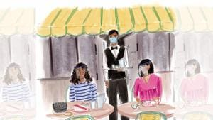 For a coffee meet with girlfriends, refrain from kissing and hugging, and take off the masks only to sip the cappuccinos!(Illustration: Aparna Ram)