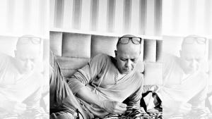Narendra Kumar Ahmed mends a jacket while posing for an exclusive pic for this column in his bedroom at home in Mumbai. On Narendra: Tracks, Zara; top, Zadig Voltaire; jacket, Narendra Kumar Ahmed