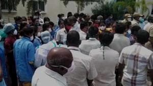 The scene outside Andhra Pradesh hospital after wall collapse led to the death of an employee. (HT Photo)