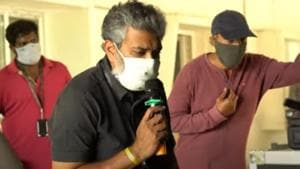 SS Rajamouli on the sets of RRR in Hyderabad.