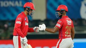 IPL 2020 SRH vs KXIP: Mujeeb Ur Rahman (L) with Nicholas Pooran.(IPL/Twitter)