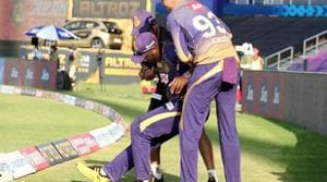 Photo of Andre Russell getting injured during KXIP vs KKR IPL 2020 match(IPL/Twiter)