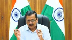 Delhi chief minister Arvind Kejriwal addressing a press conference from his residence, in New Delhi, on Friday.(HT Photo)