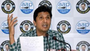 Delhi MLA Saurabh Bhardwaj addresses a press conference at the party office in New Delhi.(ANI/ File photo)