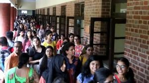 A shot of first year students at DU day 1 last year.(Amal KS/HT Photo)
