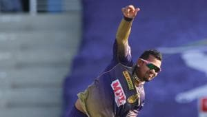 Sunil Narine of Kolkata Knight Riders bowls during match 24 of season 13 of the Dream 11 Indian Premier League (IPL) between the Kings XI Punjab and the Kolkata Knight Riders.Photo by: Pankaj Nangia / Sportzpics for BCCI