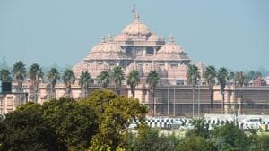 The authorities have decided to open only a few spots inside the sprawling Akshardham complex such as the temple, the park, the musical fountain and the restaurant.(HT file photo)