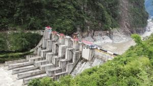 An NHPC hydroelectric project on river Teesta.(AFP Photo)