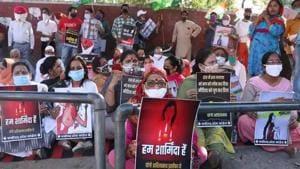 Women in Chandigarh protest against Hathras gang rape case.(HT Photo)