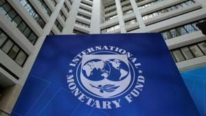 The International Monetary Fund logo is seen during the IMF/World Bank spring meetings in Washington, US.(REUTERS)