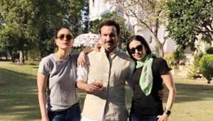 Saif Ali Khan poses with Kareena Kapoor and Karisma Kapoor at the Pataudi Palace.